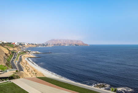 Aerial View of Miraflores green Coast - Lima, Peru