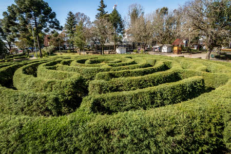 Green Labyrinth Hedge Maze (Labirinto Verde) at Main Square - Nova Petropolis, Rio Grande do Sul, Brazil