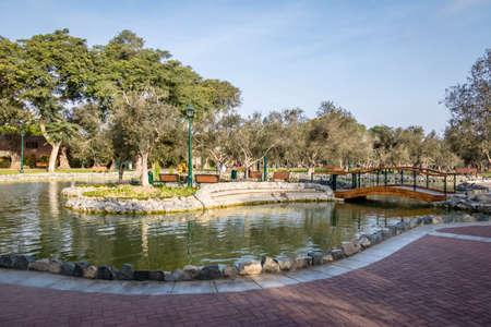 페루 리마의 San Isidro 지구에있는 Olive Grove Park (또는 El Olivar Forest) 스톡 콘텐츠