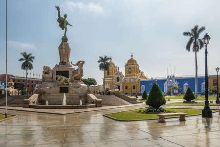 Main Square (Plaza de Armas) and Cathedral - Trujillo, Peru Reklamní fotografie