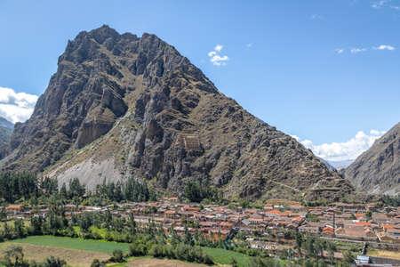 Ollantaytambo village and Pinkuylluna Mountain - Ollantaytambo, Sacred Valley, Peru