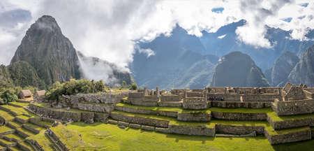 Panoramic View of Machu Picchu Inca Ruins - Sacred Valley, Peru Stock Photo