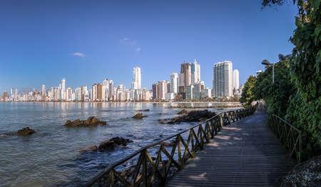 Balneario Camboriu skyline and wooden walkway - Balneario Camboriu, Santa Catarina, Brazil