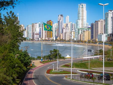 Balneario  Camboriu city and brazilian flag - Balneario Camboriu, Santa Catarina, Brazil