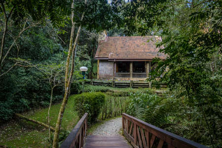 Witch house at Hensel and Gretel Trail (Trilha Joao e Maria) of Bosque Alemao (German Forest Park) - Curitiba, Parana, Brazil 免版税图像