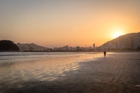 Santos Beach at sunset - Santos, Sao Paulo, Brazil Editorial