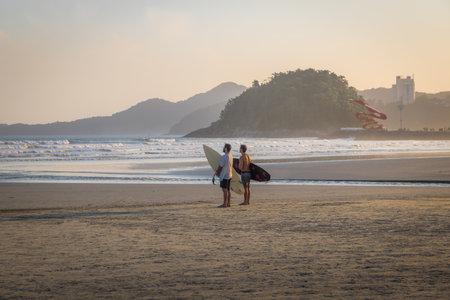 Surfers at Santos Beach - Santos, Sao Paulo, Brazil