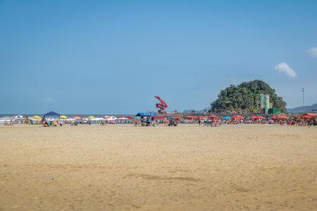 Santos Beach and Urubuquecaba island - Santos, Sao Paulo, Brazil Editorial