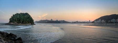 Panoramic view of Sao Vicente city Skyline and Urubuquecaba Island at sunset - Santos, Sao Paulo, Brazil