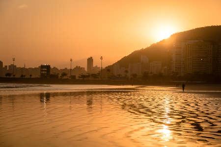 Santos Beach at sunset - Santos, Sao Paulo, Brazil Imagens