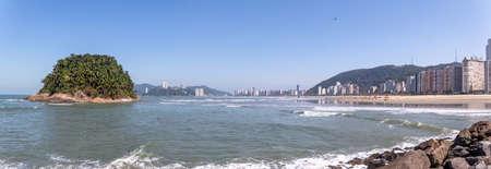 Panoramic view of Sao Vicente city Skyline and Urubuquecaba Island - Santos, Sao Paulo, Brazil
