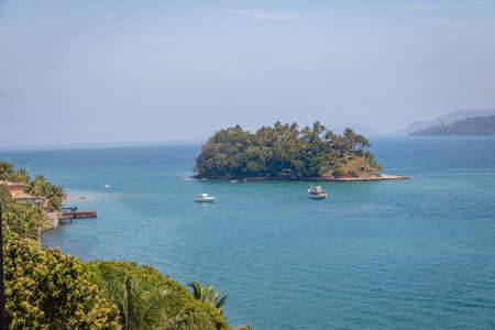 Aerial view of Ilha das Cabras Island - Ilhabela, Sao Paulo, Brazil Stock Photo