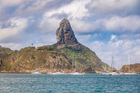 View of Fernando de Noronha Island and Morro do Pico - Fernando de Noronha, Pernambuco, Brazil Stock Photo