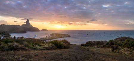 Panoramic Sunset view of Fernando de Noronha with Morro do Pico and Santo Antonio Port - Fernando de Noronha, Pernambuco, Brazil