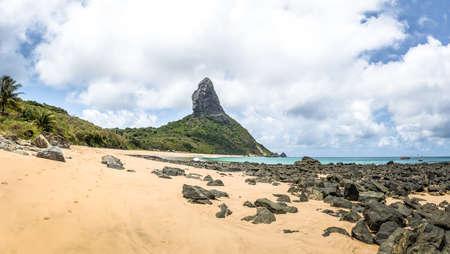 Panoramic view of Praia da Conceicao Beach and Morro do Pico - Fernando de Noronha, Pernambuco, Brazil Stock Photo