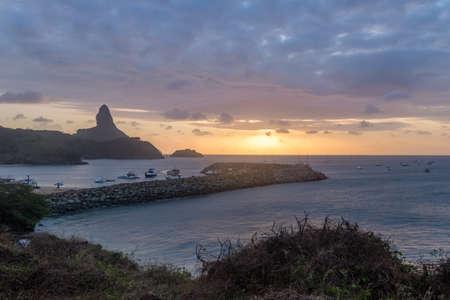 Sunset view of Fernando de Noronha with Morro do Pico and Santo Antonio Port - Fernando de Noronha, Pernambuco, Brazil