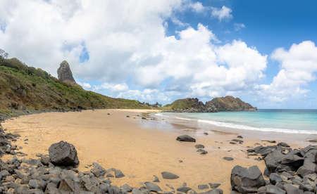 Praia do Meio Beach with Morro do Pico on background - Fernando de Noronha, Pernambuco, Brazil