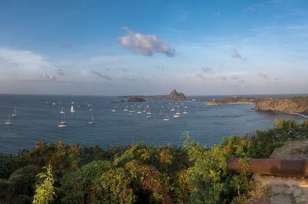 Aerial view of Porto de Santo Antonio - Fernando de Noronha, Pernambuco, Brazil