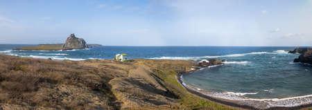 Panoramic view of Sharks Cove (Enseada dos Tubarões) and Secondary Islands view - Fernando de Noronha, Pernambuco, Brazil