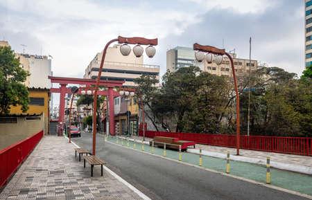 Torii Gate at Liberdade Avenue in Liberdade japanese neighborhood - Sao Paulo, Brazil Stock Photo