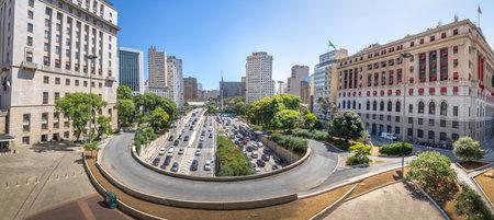Panoramic view of 23 de Maio Avenue view from view from Viaduto do Cha (Tea Viaduct) - Sao Paulo, Brazil