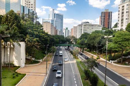 9 de Julho Avenue View - Sao Paulo, Brazil Stok Fotoğraf