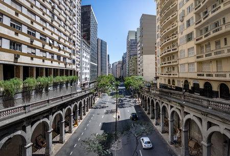 Otavio Rocha viaduct over Borges de Medeiros Avenue in downtown Porto Alegre city - Porto Alegre, Rio Grande do Sul, Brazil