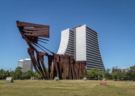 Azoreans (Acorianos) Monument and Rio Grande do Sul Adminitrative Building or Administrative Center Fernando Ferrari (CAFF) - Porto Alegre, Rio Grande do Sul, Brazil 報道画像