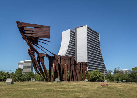 Azoreans (Acorianos) Monument and Rio Grande do Sul Adminitrative Building or Administrative Center Fernando Ferrari (CAFF) - Porto Alegre, Rio Grande do Sul, Brazil Editorial