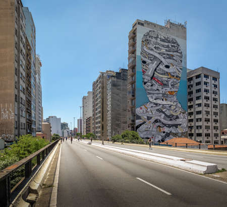 People enjoying the weekend at elevated highway known as Minhocao (High President Joao Goulart) - Sao Paulo, Brazil Editorial