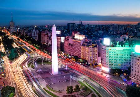 Aerial view of Buenos Aires city with Obelisk and 9 de julio avenue at night - Buenos Aires, Argentina