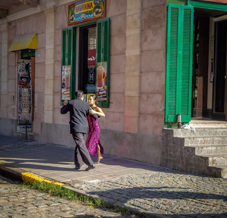 Tango dancers at La Boca neighborhood - Buenos Aires, Argentina