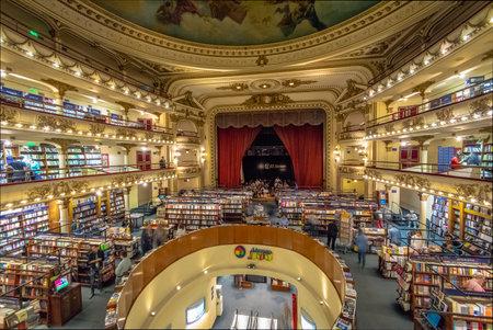 Interior of El Ateneo Grand Splendid bookshop - Buenos Aires, Argentina 免版税图像 - 109050310