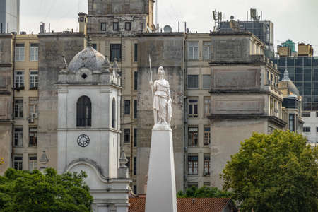 Statue of Liberty on top of the May Pyramid at Plaza de Mayo - Buenos Aires, Argentina