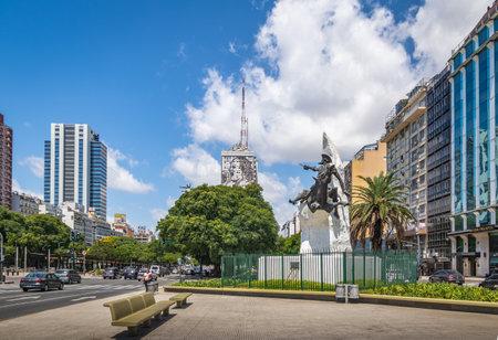 9 de Julio Avenue and Don Quixote de La Mancha monument - Buenos Aires, Argentina Editorial