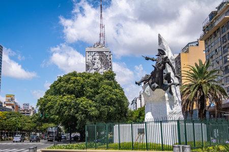 Don Quixote de La Mancha monument at 9 de Julio Avenue - Buenos Aires, Argentina Editorial