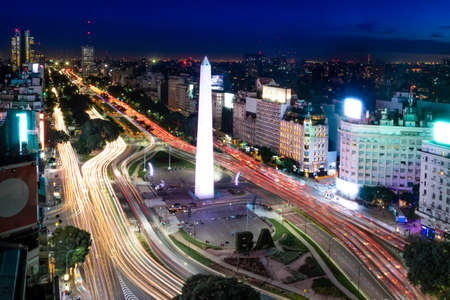 Aerial view of Buenos Aires and July 9 avenue at night - Buenos Aires, Argentina