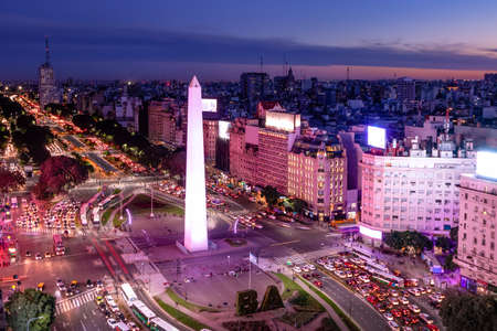 Aerial view of Buenos Aires and July 9 avenue at night with purple light - Buenos Aires, Argentina