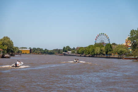 Ferris Wheel and amusement park in Lujan River - Tigre, Buenos Aires, Argentina