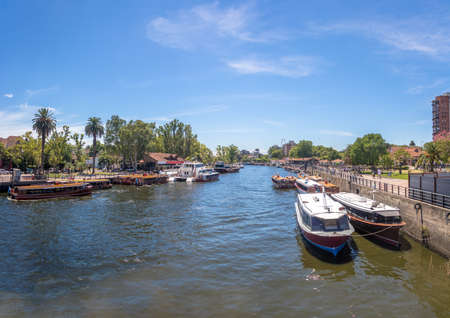 Panoramic view of Boats at Tigre River - Tigre, Buenos Aires, Argentina