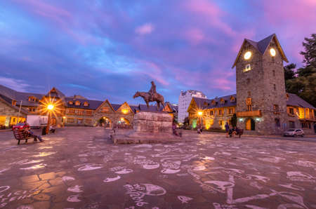 Civic Center (Centro Civico) and main square in downtown Bariloche at sunset - Bariloche, Patagonia, Argentina