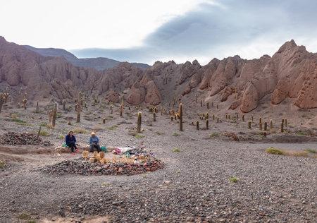 Handicraft seller in the road of Quebrada del Toro in Northern Salta Puna - Quebrada del Toro, Salta, Argentina