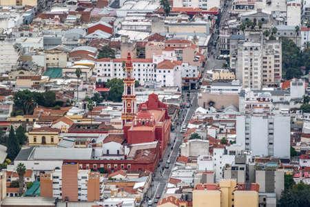Aerial view of Salta City and San Francisco Church - Salta, Argentina 写真素材