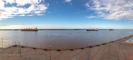 Ships in Parana River panoramic view - Rosario, Santa Fe, Argentina