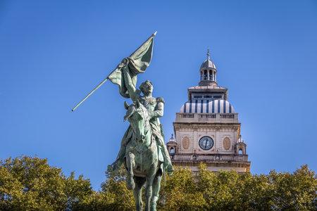 San Martin Statue and Clock Tower of Rosario University Law School Building at Plaza San Martin Square - Rosario, Santa Fe, Argentina