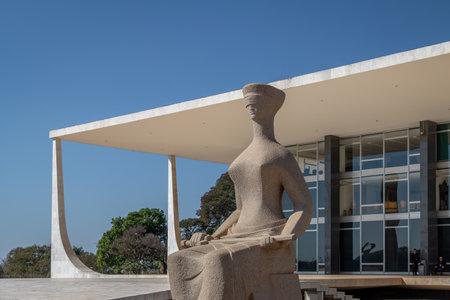 The Justice Sculpture in front of Brazil Supreme Court (STF) - Brasilia, Distrito Federal, Brazil Editorial
