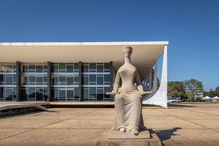 The Justice Sculpture in front of Brazil Supreme Court (STF) - Brasilia, Distrito Federal, Brazil