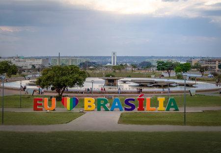 Brasilia Sign at Burle Marx Garden Park and TV Tower Fountain - Brasilia, Distrito Federal, Brazil