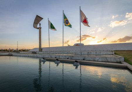 JK Memorial - Juscelino Kubitschek Memorial at sunset - Brasilia, Distrito Federal, Brazil Editorial