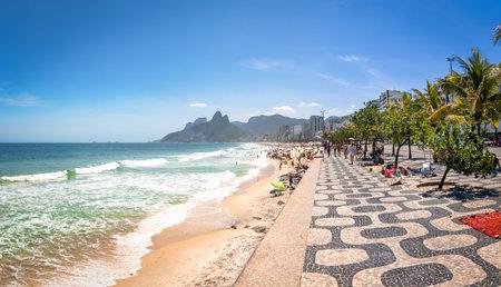 Ipanema Beach and Two Brothers (Dois Irmaos) Mountain - Rio de Janeiro, Brazil